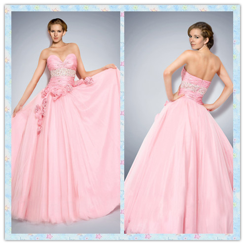 trägerlose Abendkleid pink